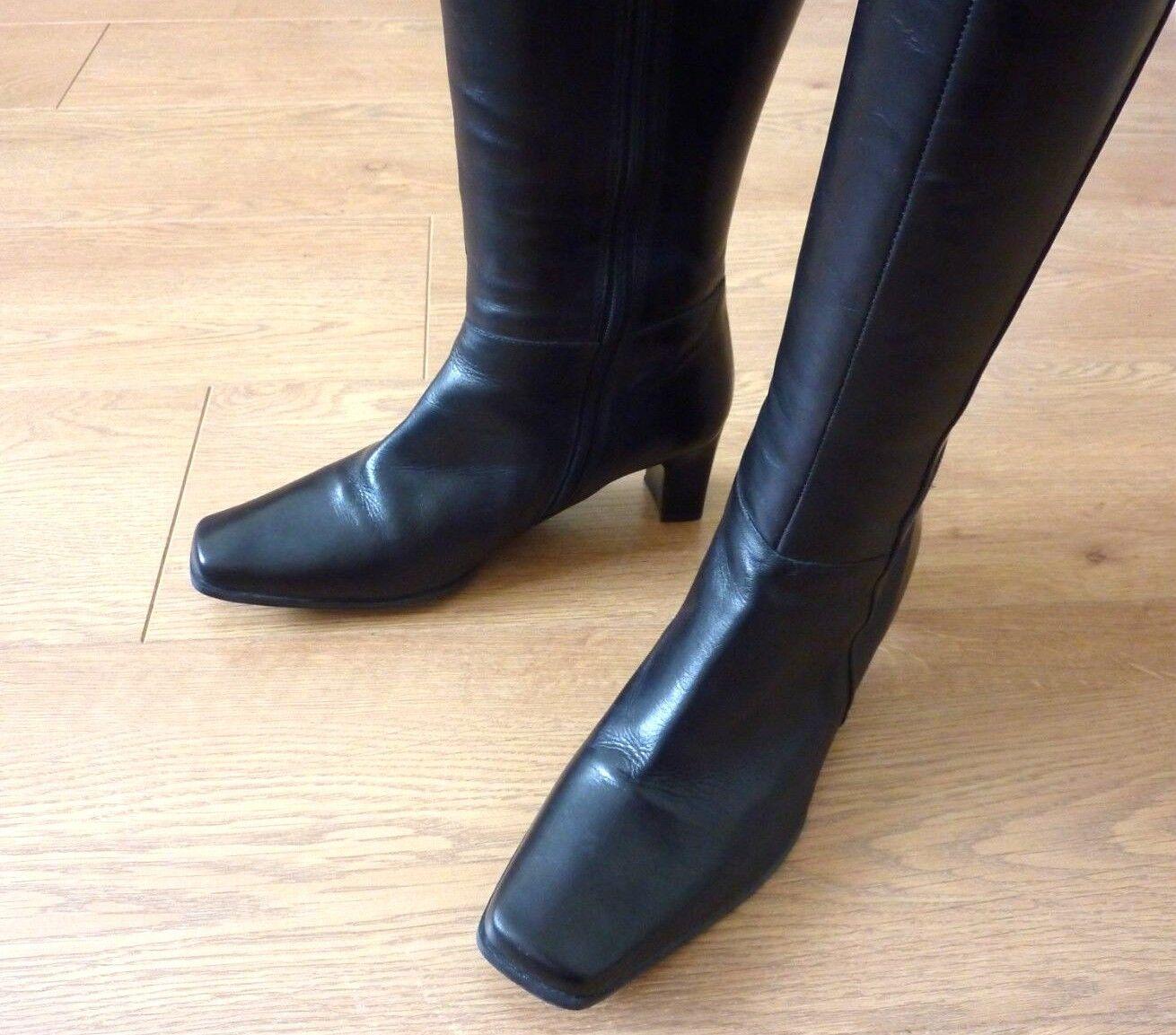Clarks Lark canción señoras de cuero negro negro negro botas de tacón hasta la rodilla Cremallera Completa UK 5.5 EU 39  moda
