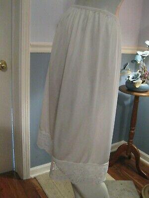 "4"" Floral Lace Hem 28"" Length Size Xl 100% Nylon Vassarette White Half Slip"