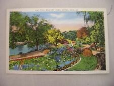 VINTAGE LINEN POSTCARD OF THE LILY POND AT SOLDIER'S HOME IN DAYTON, OHIO