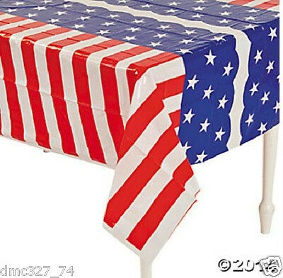 4th of July PATRIOTIC Party Decoration Plastic STARS & STRIPES TABLE COVER