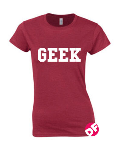 Womens GEEK Print FITTED Ladies Girls Celebrity Petite T Shirt Top Sizes NEW