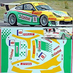 Porsche 911 Gt3 Castrol #8 - 1:18 Décalque Décalcomanie-afficher Le Titre D'origine Couleur Rapide