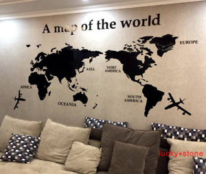 Home decor world map 3d diy tv sofa background wall stickers acrylic image is loading home decor world map 3d diy tv sofa gumiabroncs Gallery