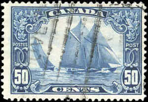 Stamp-Canada-Used-1929-50c-F-Scott-158-034-Bluenose-034-King-George-V-Scroll