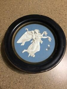 Vintage-Guildcraft-Sunshine-Biscuit-Round-Tin-Wedgewood-Style-Plastic-3D-Top-NY