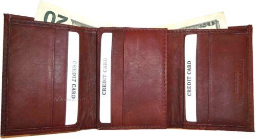 New man/'s leather tri-fold wallet 12 credit debit ATM cards 2 billfold 1 ID bn+*