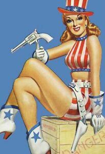 American-Revolver-Pin-Up-Girl-Panneau-Metallique-Plaque-Voute-Etain-Signer