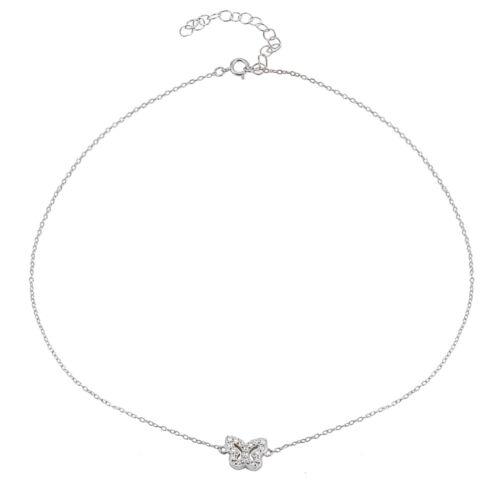 Papillon zircon cubique collier tour de cou en argent sterling