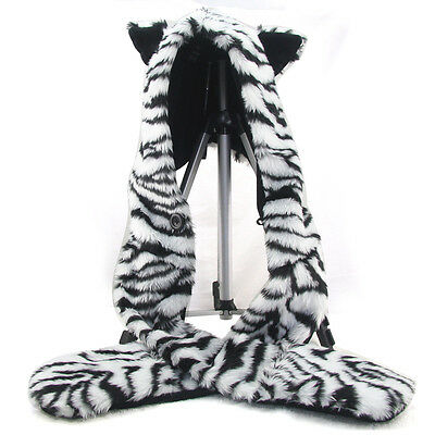 3IN1 Function Fur Animal White Tiger Hood Hoodie Soft Fluffy Hat Scarf Pocket