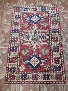 Hand Knotted Area Rug 2' x 3' Kazak Karachi Weavers Carpet
