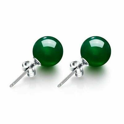 Damen Ohrringe Ohrstecker 925er Sterling Silber Grüne Achat 7 Mm Rhodiniert Extrem Effizient In Der WäRmeerhaltung