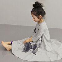 Girls Kids Children Baby Skirt Long Butterfly Dress Clothes Dancewear Size 3-9T
