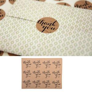 """120pcs Round """"Thank You"""" Craft Packaging Seals Kraft Sealing Sticker Label Paper"""