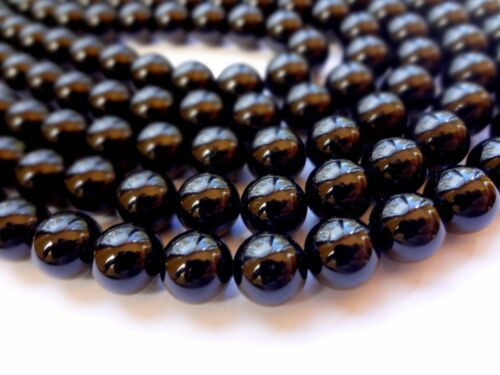 8mm Round Black Tourmaline Semi Precious Gemstone Beads Half Strand