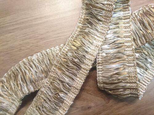 2 Mètre Fringe-Garniture pour les bords de coussins etc 45 mm crème /& marron clair