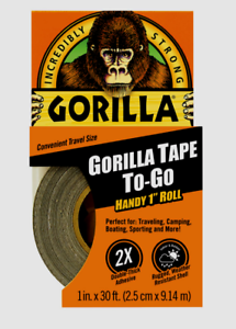 """NEW Gorilla Tape TO-GO Handy 1/"""" Roll Thick Travel Camping Boating Sport 30 ft L"""
