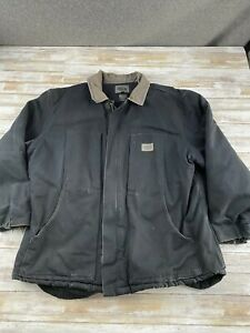 DICKIES-MEN-SIZE-2XL-BLACK-FULL-ZIP-INSULATED-CANVAS-WORK-JACKET