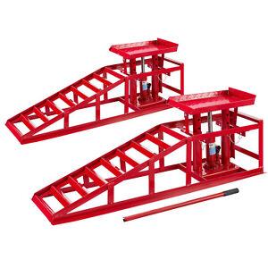 2x-Voitures-Vehicule-Rampe-Jack-Hauteur-Hydraulique-Reglable-2-T-Rampe-de-Levage