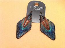 Tibet rhombus green/brown thread metal dangle earrings ear drop beautiful