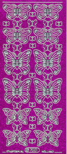 Starform Glitter Stickers N° 7001 Papillon Butterfly Auto-collants Peel offs