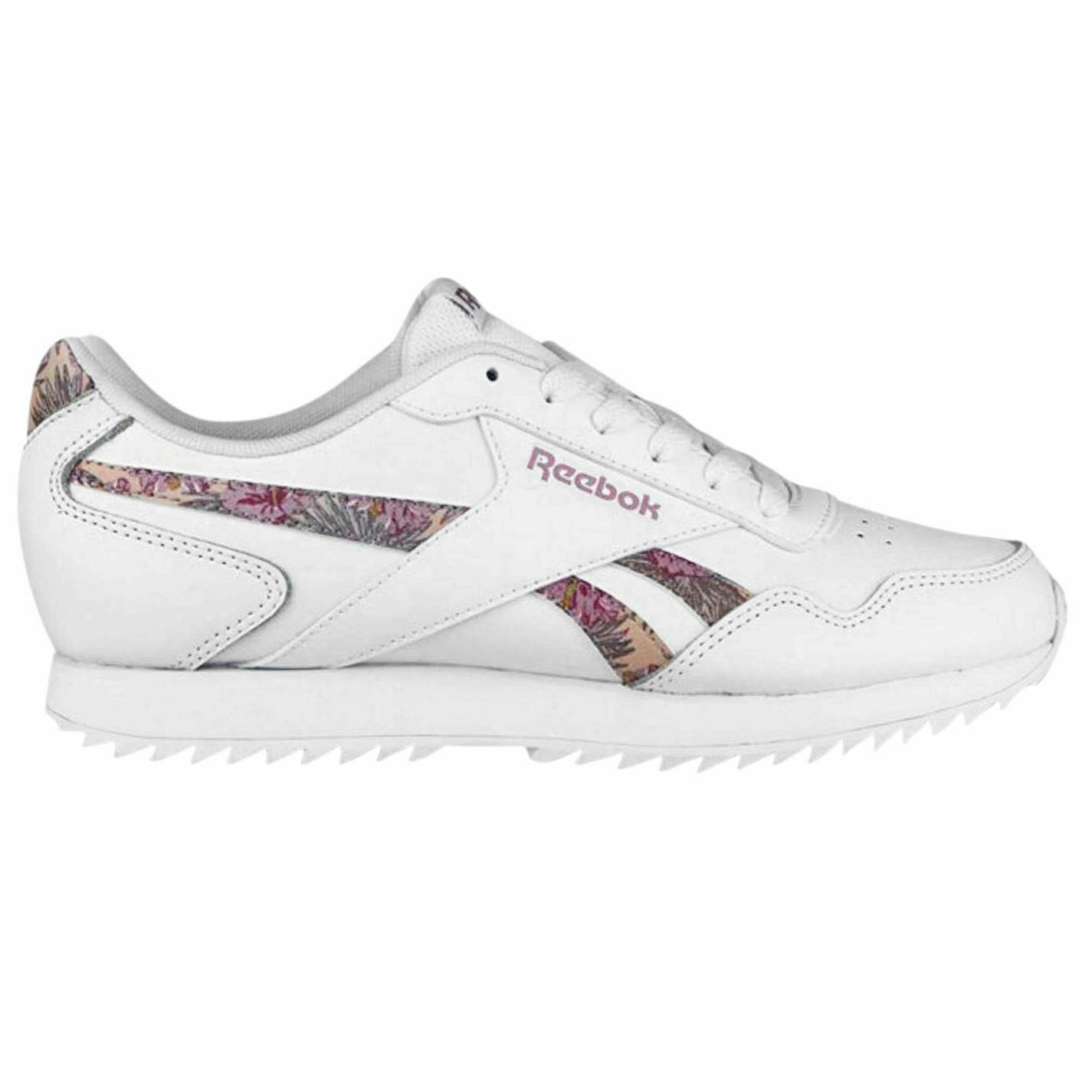 Reebok Royal Glide Ripple Floral Trainers Womens White Athleisure Sneakers shoes