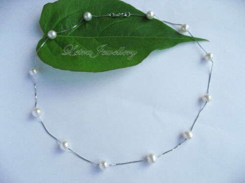 """16/"""" 45cm 925 Sterling Silver 8mm AAA Round Cultured Freshwater Pearl Necklace"""