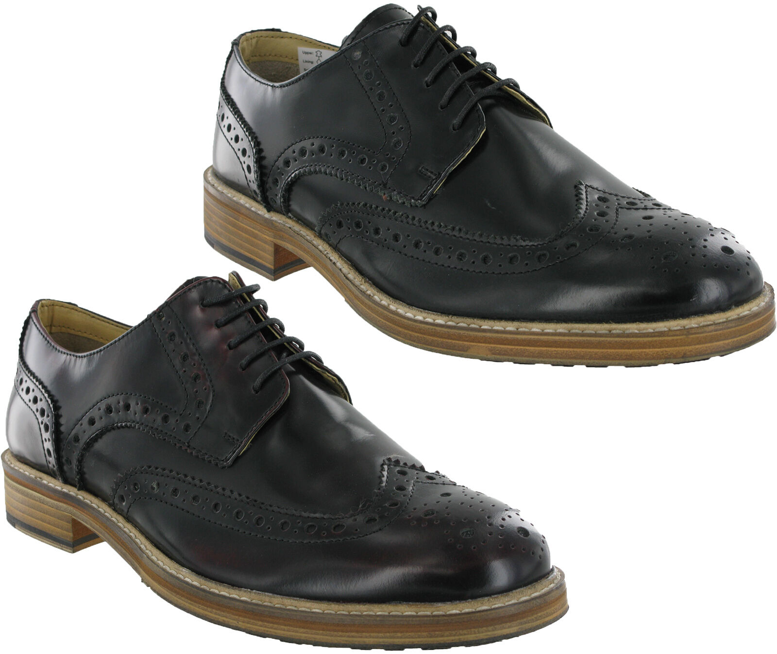 Roamers Wing Capped Uomo Brogue 5 Eyelet  Uomo Capped Leder Gibson Lace Up Schuhes UK6-12 52e1c3