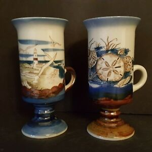 2-Vintage-Otagiri-Footed-Irish-Mexican-Coffee-Cups-Lighthouse-Shells-Beach-Ocean