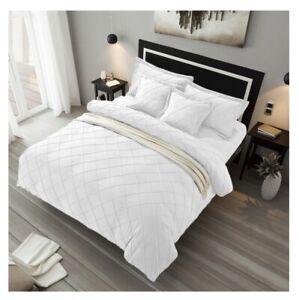 Pintuck Velvet White Duvet Cover Set 5 PC King/Cal King Size Set
