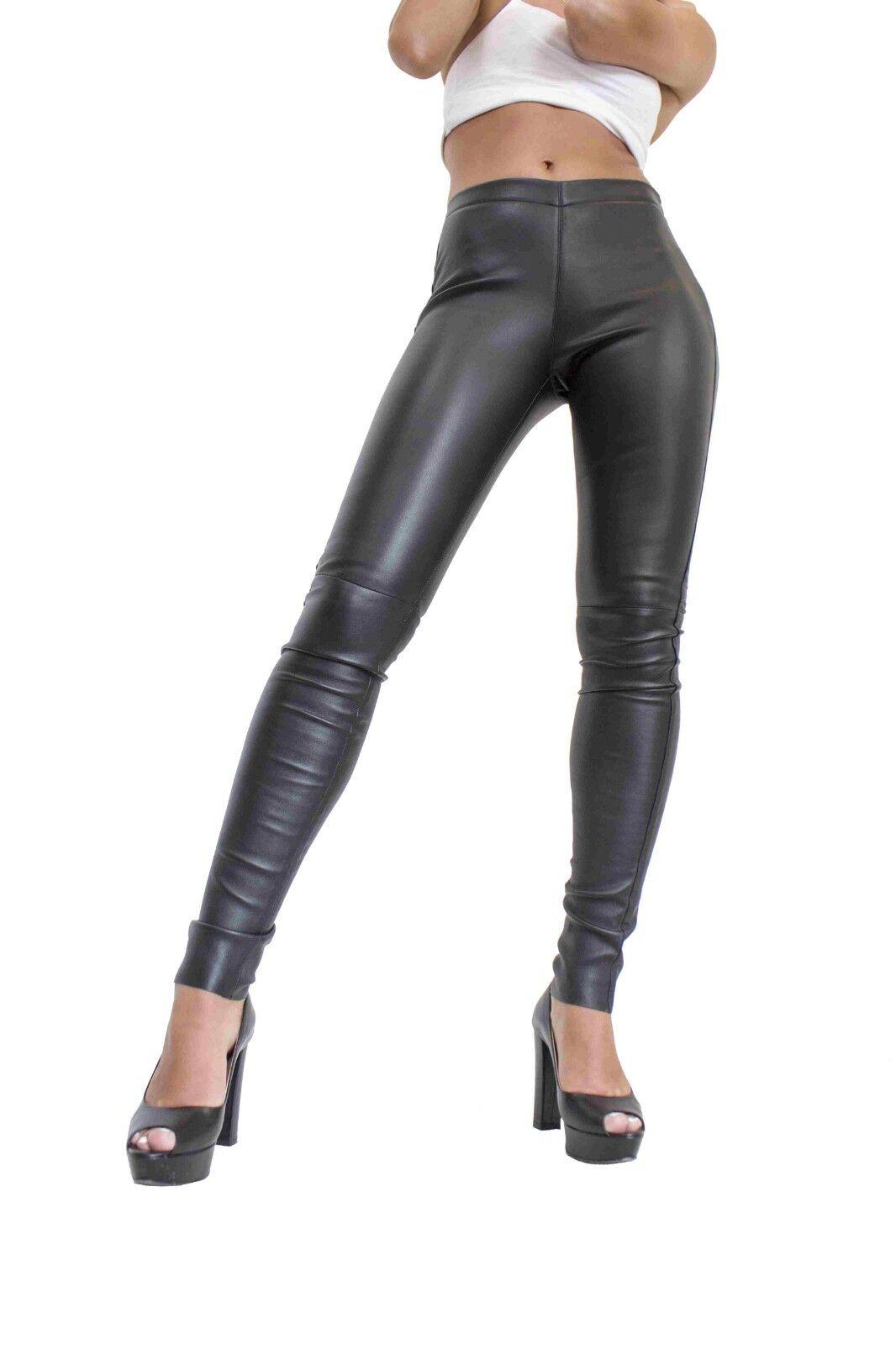 Donna Lederhose Lammnappa Pelle Pelle Pelle Leggings echt Leder Slimfit TIGHT PANTS NERO 26bc46