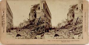 Italia Messina, Grand Disastro Terremoto Da Terra, Foto Stereo Albumina 1909