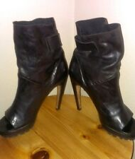 Vic Matie Black Leather peep-toe high heel ankle boot w/lug sole,sz.40(9 US)