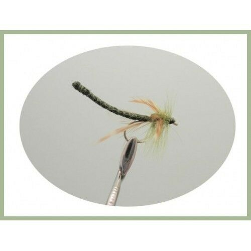 Damsel Trout Flies 6 x Olive Dragon Damsels Summer fishing Flies Size 10