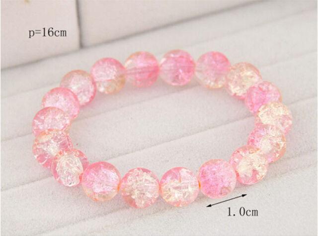 Fashion Vintage Shiny Pink Crystal Glass Beads Bracelet Women Charm Bangle New