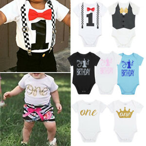 Image Is Loading Baby Girl Boy First 1st Birthday Outfit Romper