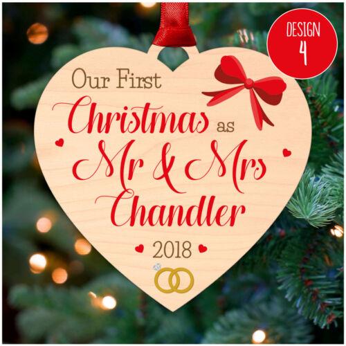 Premier 1st Noël comme Mr /& Mrs Personnalisé De Décorations de Noël de Noël Baubles