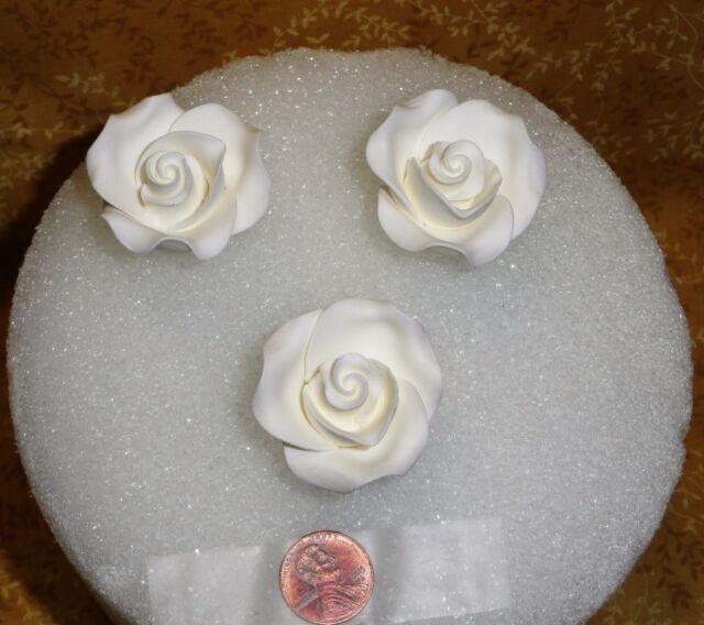 Roses White Edible Sugar Soft Cake Decorations Pretty Decopac 1 5 3 Pc Set