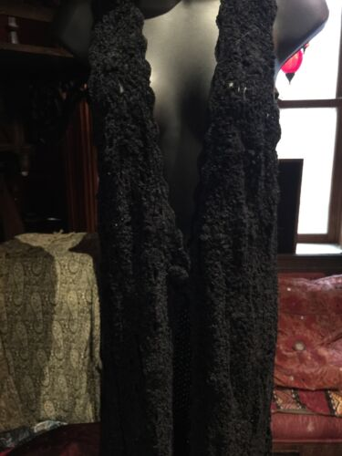 Vintage 1980's Black Chenille Crochet Lace Long S… - image 1