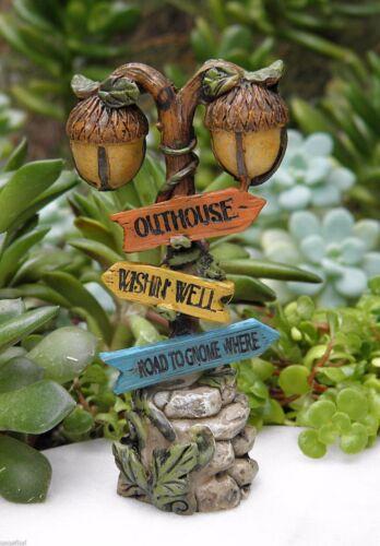 Miniature Dollhouse FAIRY GARDEN Accessories ~ Woodland Gnome Acorn Sign Post