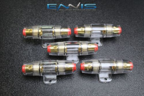 5 PACK AGU FUSE HOLDER 4 6 8 10 GAUGE IN LINE GLASS FUSES AWG WIRE GOLD