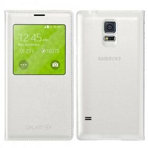 Original-Samsung-Galaxy-s5-S-View-Flip-Cover-Case-White-EF-CG-900-BWEGWW