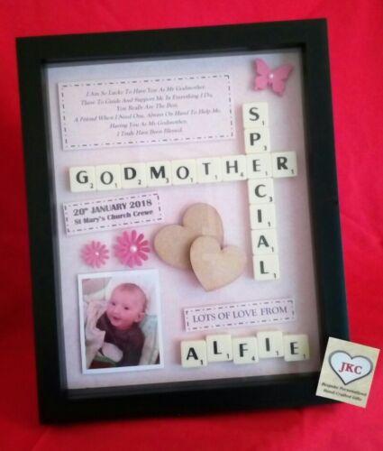 GODMOTHER Personalised FRAME PICTURE GIFT Keepsake Godfather Godparents Baptism