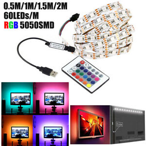 USB-LED-Ruban-de-Bande-Guirlande-5050-RGB-Flexible-Lumiere-TV-Adhesive-Decor