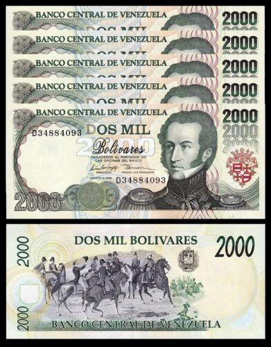 Consecutive 5 Pcs LOT UNC P-77c Venezuela 2000 Bolivares 1998