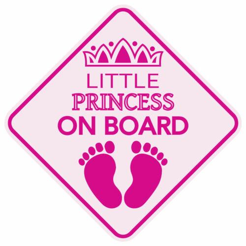 "Reflective LITTLE PRINCESS ON BOARD Pink Baby Car 5/""x5/"" Sticker Waterproof Decal"