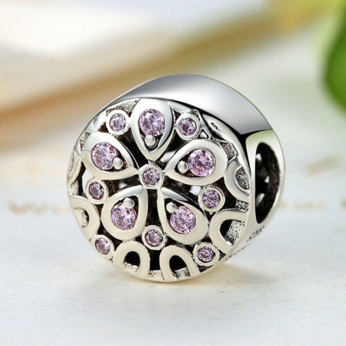 Voroco European 925 Sterling Silver CZ Charm Bead With Pink CZ Fit Girl Bracelet