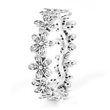 DAISY 925 Solid Sterling Silver Sparkling Clear Pave Flower Ring Size 8.5 / 58