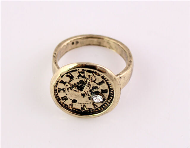 New Charming Fashion Accessory Vintage Bronze Clock Women Finger Ring Size 6 TOP