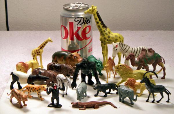 23 Animaux En Plastique Dur Figurines Wild, Apprivoiser, Toutes Les Tailles Différentes!