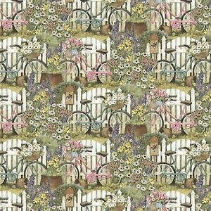 Primrose-Lane-Bicycles-100-cotton-fabric-by-the-yard